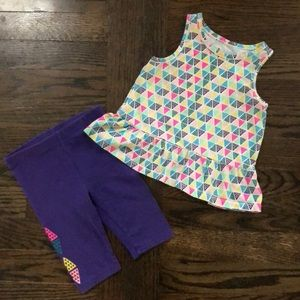 Toddler Girls Multicolored Tank And Short Set